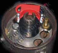Hot-Spark 3BOS4C2 electronic ignition conversion kit installed in older Bosch non-vacuum-advance distributor with 2-piece points