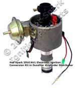 Hot-Spark 3DUC4U1 electronic ignition conversion kit replaces points in 4-cylinder Ducellier distributor Citroen, Peugeot, Renault