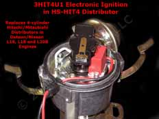 Hot-Spark 3HIT4U1 Electronic Ignition Conversion Kit in HS-HIT4 4-Cylinder Hitachi-Compatible Distributor for Datsun/Nissan L16, L18 and L20B Engines