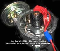 Hot-Spark 3HIT4U1 Electronic Ignition Conversion Kit replaces points in Hitachi 4-cylinder Distributor - Nissan; Datsun Mazda Chevrolet Luv Dodge Challenger, Colt; Ford Courier Honda Civic Accord
