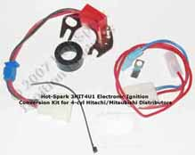 Hot-Spark 3HIT6U1 Electronic Ignition Conversion Kit replaces points in 4- or 6-cylinder Hitachi Distributor - Nissan Datsun Mazda Chevrolet Luv Dodge Challenger, Colt; Ford Courier Honda Civic Accord