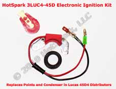 Hot-Spark Electronic Ignition Conversion Kit replaces points in 45D4 Lucas Distributors
