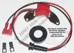 Hot-Spark Electronic Ignition Conversion Kit replaces points in later 35D8 Lucas Distributors