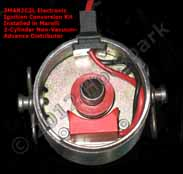 Electronic Ignition Conversion Kit replaces points in Magneti Marelli (Zelmot) 2-Cylinder Distributor for Fiat 500, 600