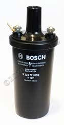 Bosch Black 9224771008 Ignition Coil with 3.4 Ohms Primary Resistance. Ideal for 4-cylinder Hot Spark electronic ignition conversion kit or for use with breaker points. Produces strong, blue spark at the spark plugs.