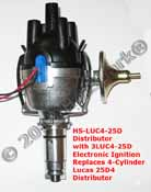 HS25D4 Electronic Vacuum-advance Distributor with 3LUC4-25D electronic ignition replaces 23D4, 25D4 Lucas 4-cylinder vacuum-advance distributors