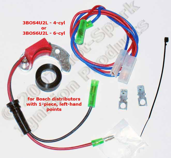 Hot-Spark 3BOS4U2L or 3BOS6U2L electronic ignition conversion kit for Bosch distreibutors with 1-piece, left-hand points