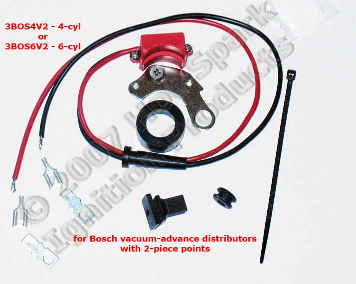 3BOS4V2 or 3BOS4V2 electronic ignition conversion kit for early Bosch vacuum-advance distributors with 2-piece, right-hand points