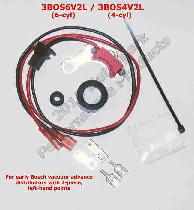 electronic ignition conversion kit for Bosch 4- or 6-cylinder distributor with 2-piece left-hand points - Mercedes, Porsche 911, Volvo