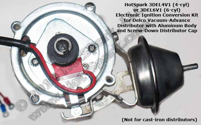 Hot-Spark 3DEL6V1 electronic ignition conversion kit for 6-cylinder, centrifugal-advance Delco Distributors - Chevy Chevrolet GM