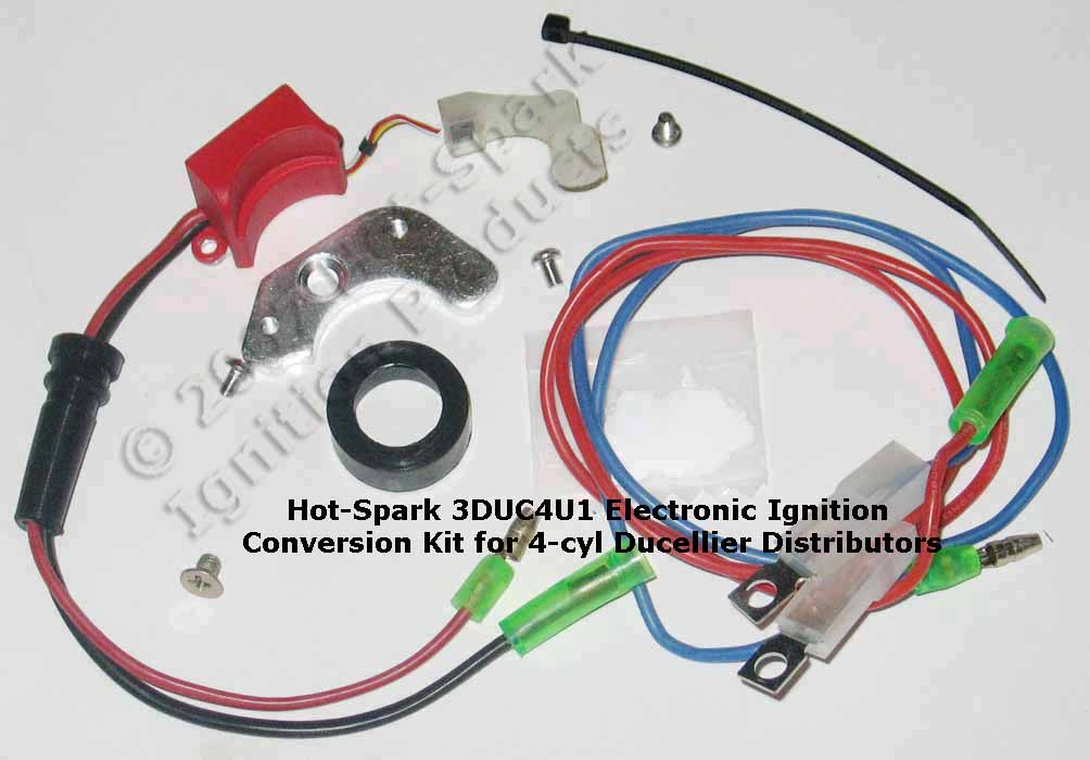 Hot-Spark 3DUC4U1 electronic ignition conversion kit for 4-cylinder Ducellier distributor. For Citroen, Peugeot, Renault, Simca, DAF, Ducellier