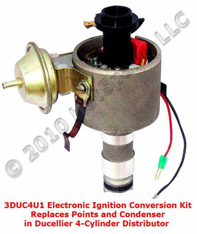 Hot-Spark 3DUC4U1 electronic ignition conversion kit in 4-cylinder Ducellier distributor for Citroën, Peugeot, Renault