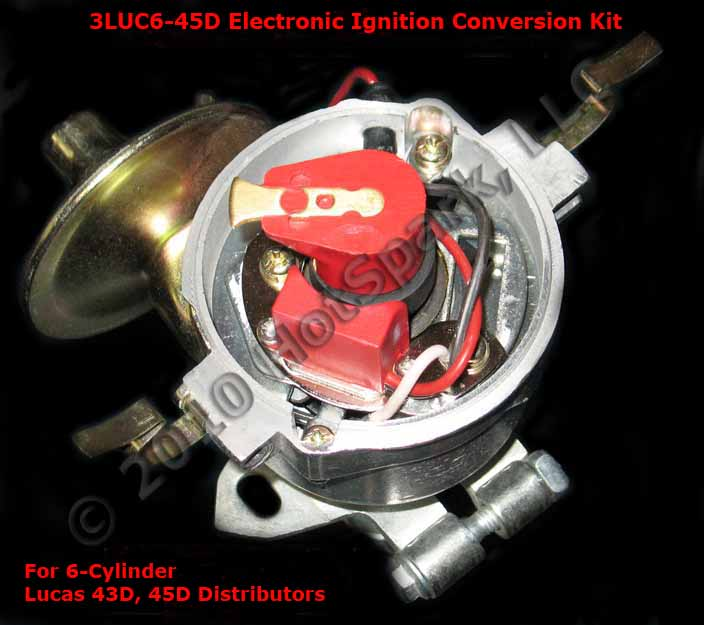 3LUC6-45D electronic ignition conversion kit in Lucas 45D 6-cylinder distributor
