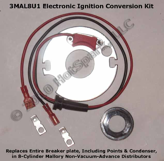 Electronic Ignition Conversion Kit for 8-cylinder Mallory Non-Vacuum-Advance Distributors