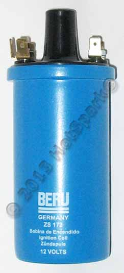 Beru Germany Ignition Coil with 3.3 Ohms Primary Resistance. Ideal for 4-cylinder Hot Spark electronic ignition conversion kit or for use with breaker points. Produces strong, blue spark at the spark plugs.