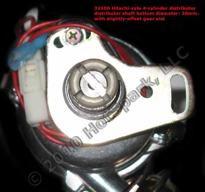 Gear Slot in Bottom of Distributor Shaft in HS-HIT4 4-Cylinder Hitachi-Compatible Distributor for Datsun/Nissan L16, L18 and L20B Engines