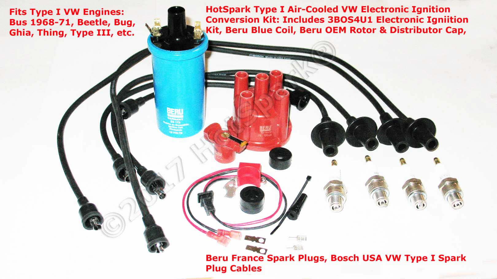 HotSpark 3BOS4U1 Electronic Ignition Conversion Kit plus BeruGermany Blue Coil, Beru France Spark Plugs, Bosch USA Spark Plug Wire Combo