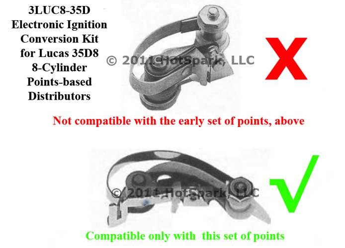 Hot-Spark Electronic Ignition Conversion Kit for 35D8 Lucas 8-cylinder Distributors