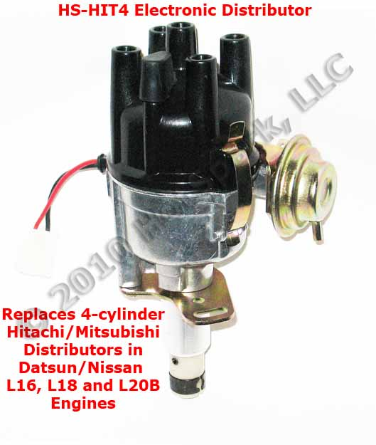 Hot-Spark HS-HIT4 4-Cylinder Hitachi-Compatible Distributor with 3HIT4U1 Electronic Ignition for Datsun/Nissan L16, L18 and L20B Engines