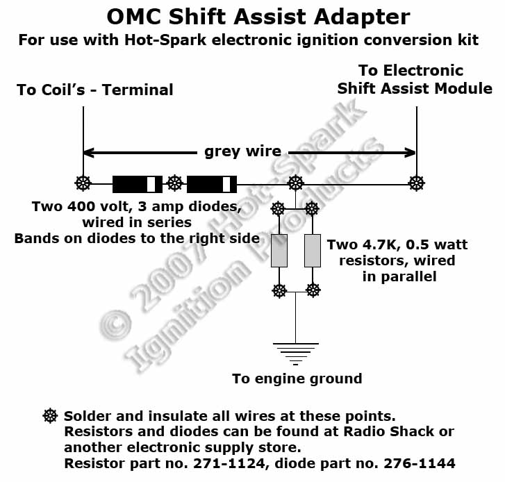 OMC Shift Assist Adapter electronic ignition conversion kits for omc marine engines  at creativeand.co