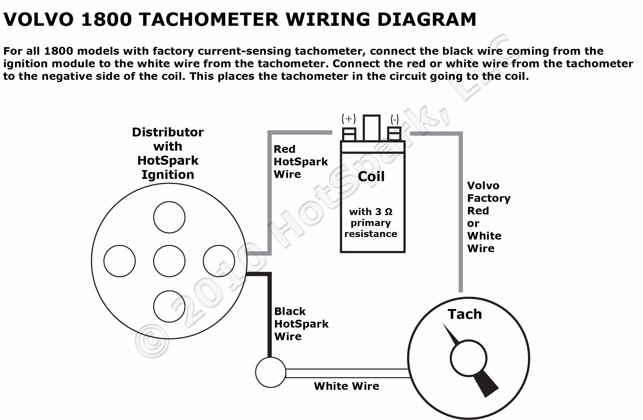 Volvo 1800 Tachometer and Hot Spark Wiring Diagram volvo 1800 tachometer wiring diagram with hotspark ignition tachometer wiring diagram at readyjetset.co